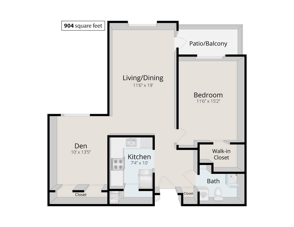 Durham 1 Bed Bath Den 904 Square Feet